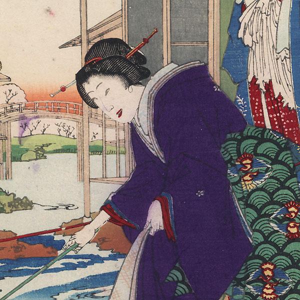 Kokonoe and Otomusume of the Daimonji-ro and Momotaro of the Nakanacho, 1884 by Chikanobu (1838 - 1912)