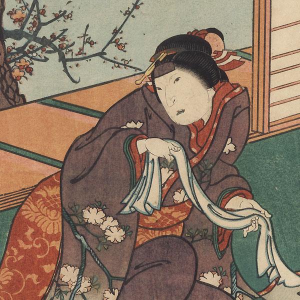 Scene from Sugwara Denju Tenarai Kagami, 1850 by Hirosada (active circa 1847 - 1863)