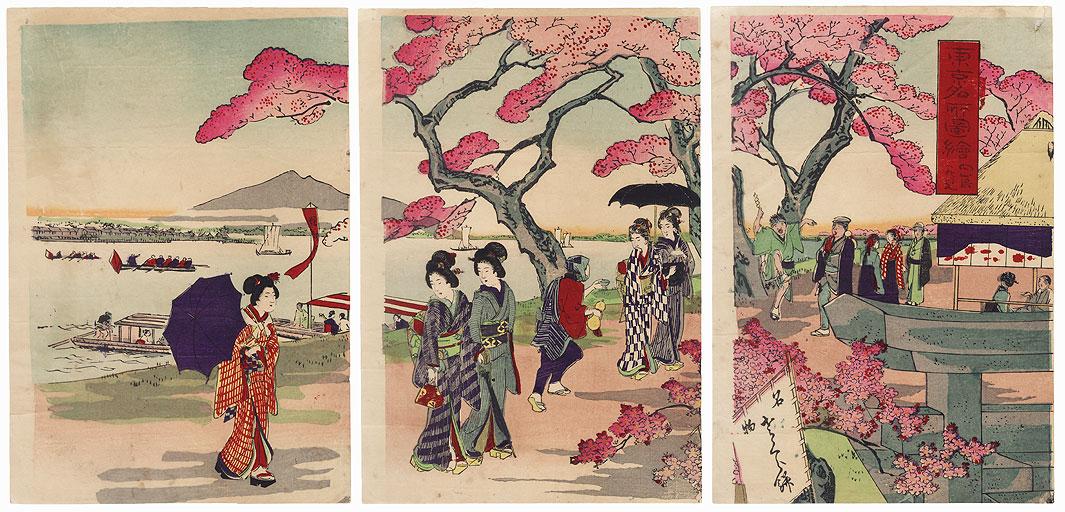Tokyo Riverbank in Spring by Meiji era artist (unsigned)