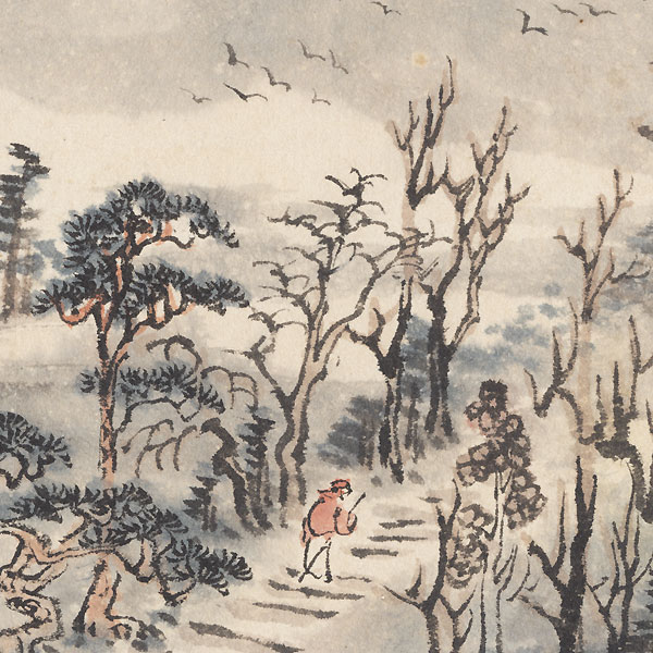 Winter Landscape Original Painting by Meiji era artist (not read)