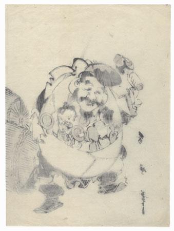 Lucky God Daikoku Carrying Children by Edo era artist (not read)
