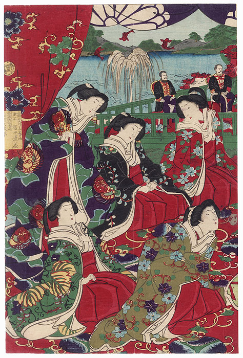 Beauties in a Palace, 1893 by Chikanobu (1838 - 1912)