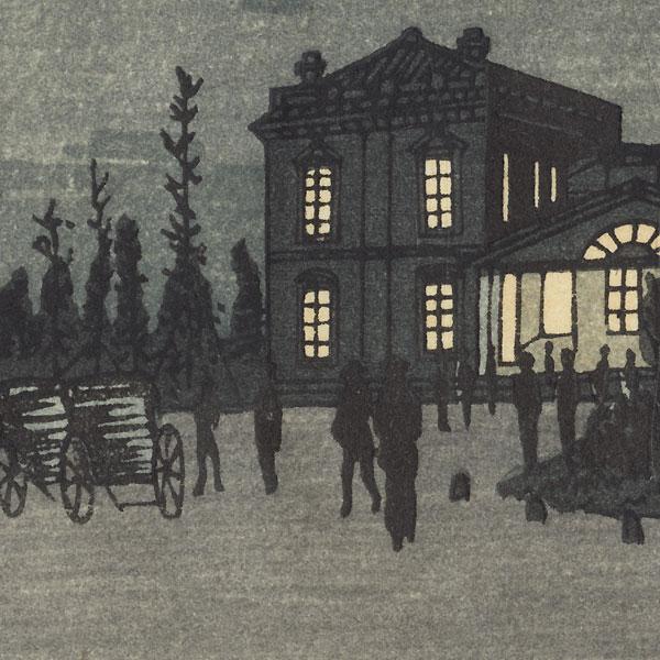 Night View of Shinbashi Station by Yasuji Inoue (1864 - 1889)