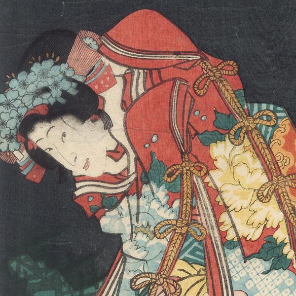 Sawamura Tanosuke at Princess Orikoto and Bando Hikosaburo as Sogen, 1862 by Kunichika (1835 - 1900)