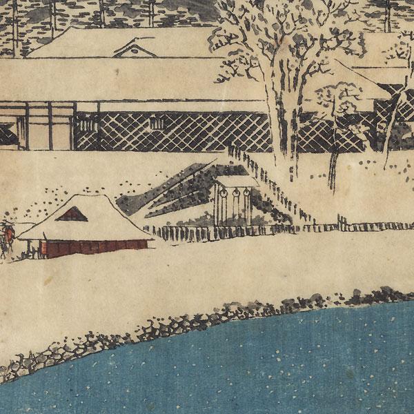 Benkei Moat outside Sakurada, 1854 by Hiroshige (1797 - 1858)