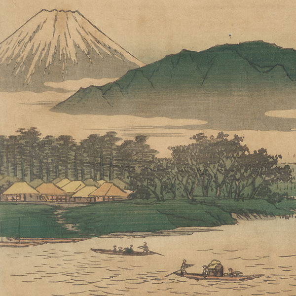 Distant View of Mt. Oyama from the Ferry on the Bannyu River near Hiratsuka, 1855 by Hiroshige (1797 - 1858)