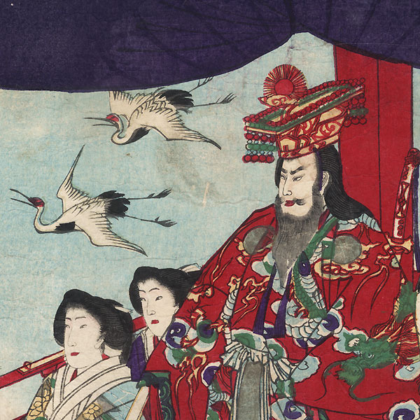 Emperor Viewing the Sunset from a High Lookout, 1879 by Chikanobu (1838 - 1912)