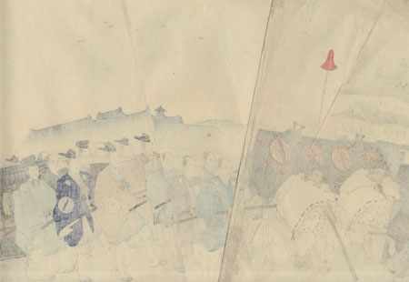Daimyo Procession Arriving at the Palace for the New Year's Greeting by Chikanobu (1838 - 1912)