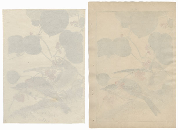 Painting for Winter Group with Matching Woodblock Print by Imao Keinen (1845 - 1924)