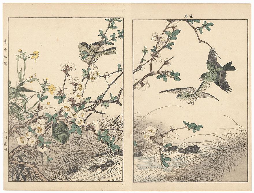 Oban diptych original - Spring Group, 1891 by Imao Keinen (1845 - 1924)