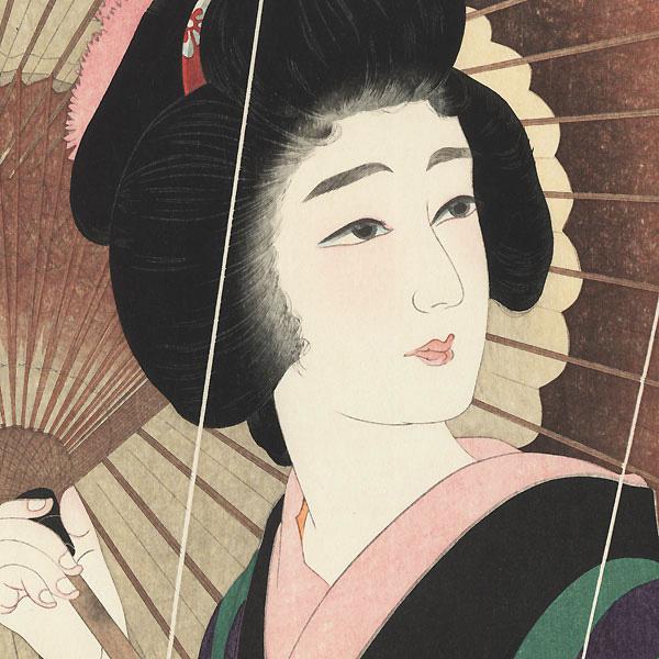 Rain by Torii Kotondo (1900 - 1976)