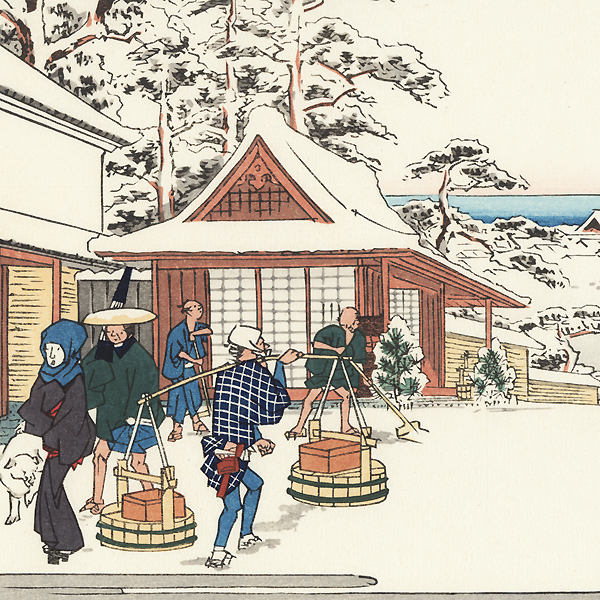 Street View, Looking Down the Kasumigaseki After a Snowfall by Hiroshige (1797 - 1858)