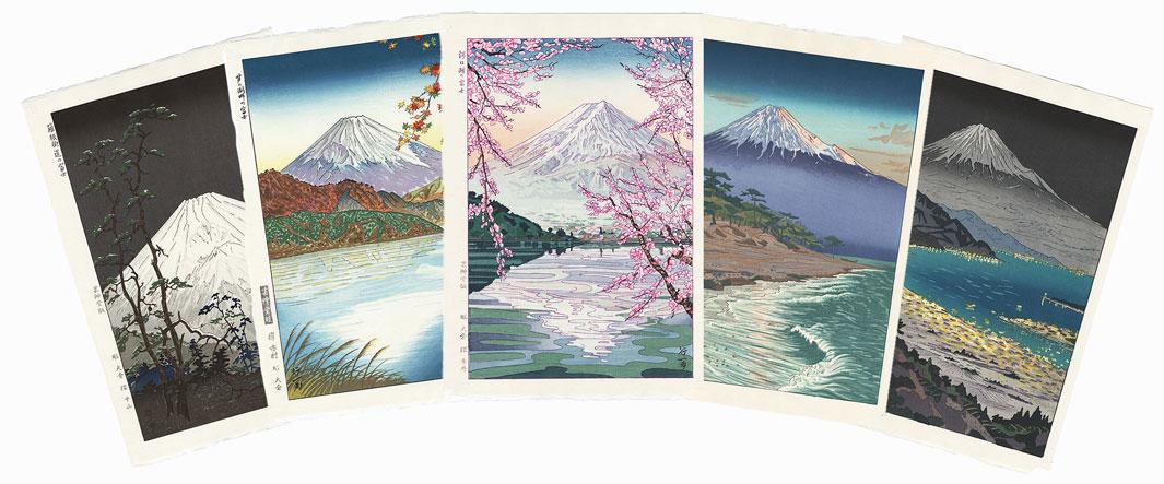 Shin-hanga Views of Mt. Fuji, Complete Set of 5 Woodblock Prints by Okada Koichi (1907 - ?)