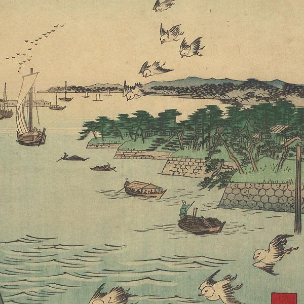 View of Shiba Coast  by Hiroshige (1797 - 1858)