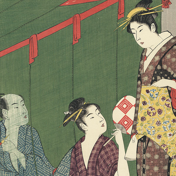 In and Out of the Mosquito Netting by Kiyonaga (1752 - 1815)