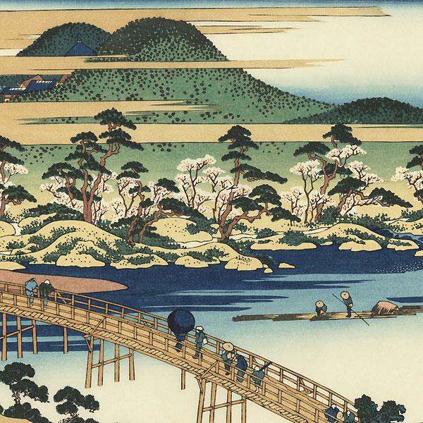Togetsu Bridge at Arashiyama in Yamashiro Province  by Hokusai (1760 - 1849)