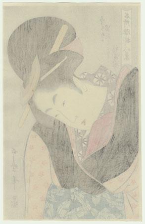 Beauty Warming Her Hands inside Her Kimono by Utamaro (1750 - 1806)