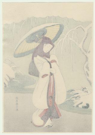 Heron Maiden by Harunobu (1724 - 1770)