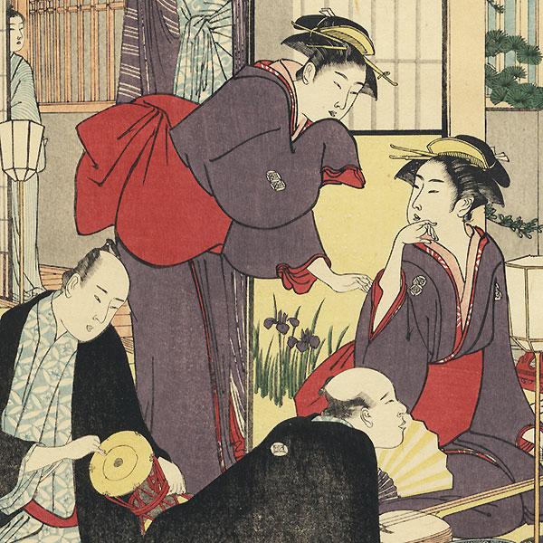 Entertainment at a Geisha House by Kiyonaga (1752 - 1815)