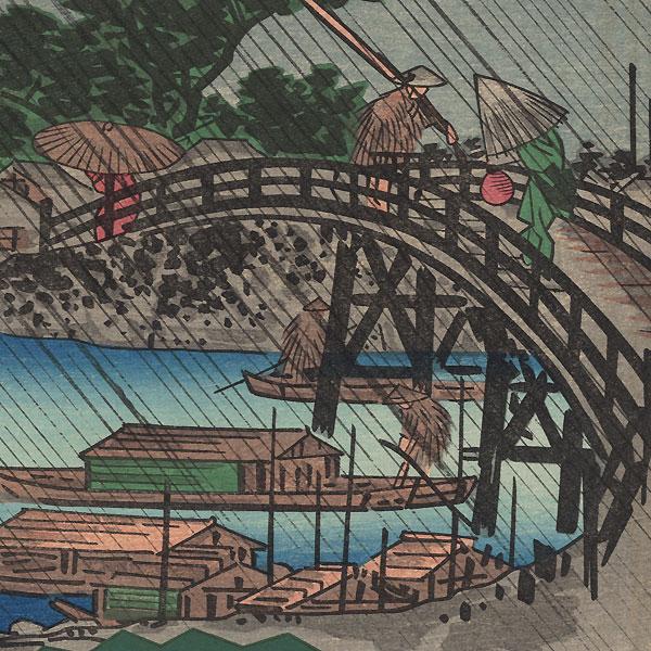 Night Rain at Fukagawa by Hiroshige (1797 - 1858)