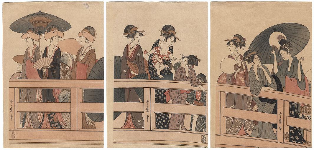 On Top of Ryogoku Bridge by Utamaro (1750 - 1806)