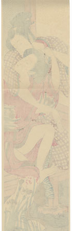 Couple Struggling over a Letter Pillar Print by Koryusai (1735 - 1790)