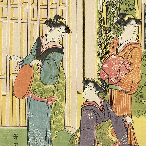 Beauties Enjoying a Garden by Toyokuni I (1769 - 1825)