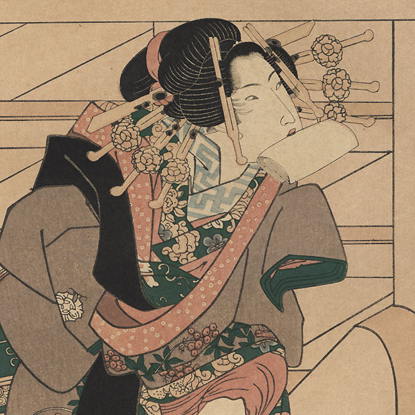 Beauty Climbing Stairs by Toyokuni III/Kunisada (1786 - 1864)