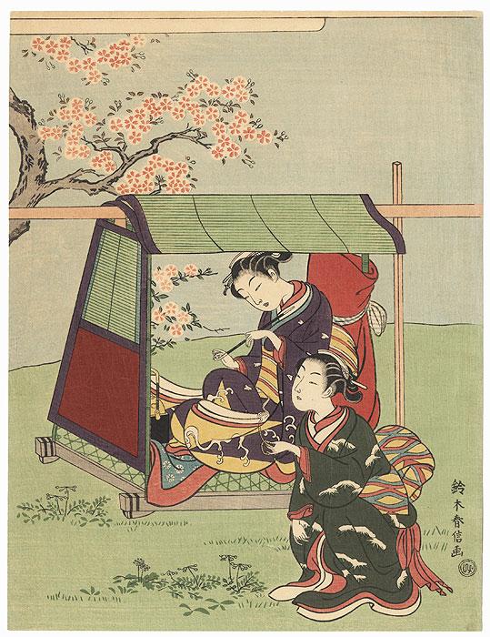 Travelers Taking a Break by Harunobu (1724 - 1770)