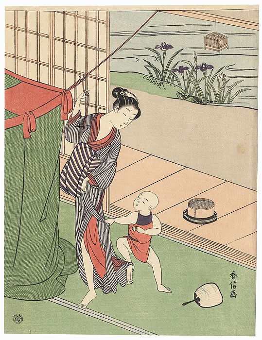 Beauty Hanging Mosquito Netting by Harunobu (1724 - 1770)