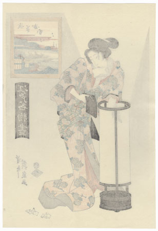Courtesan Trimming a Lamp by Eisen (1790 - 1848)