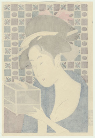 Beauty and an Insect Cage by Utamaro (1750 - 1806)