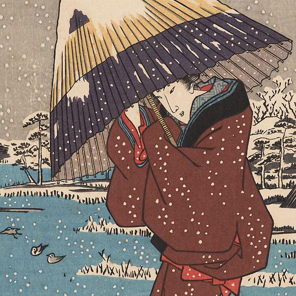 Ferry in Winter by Hiroshige (1797 - 1858)