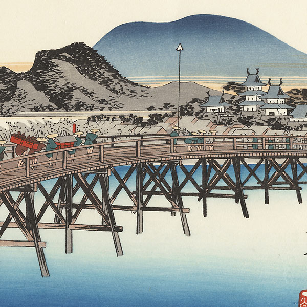 The Bridge over the Yahagi River at Okazaki by Hiroshige (1797 - 1858)