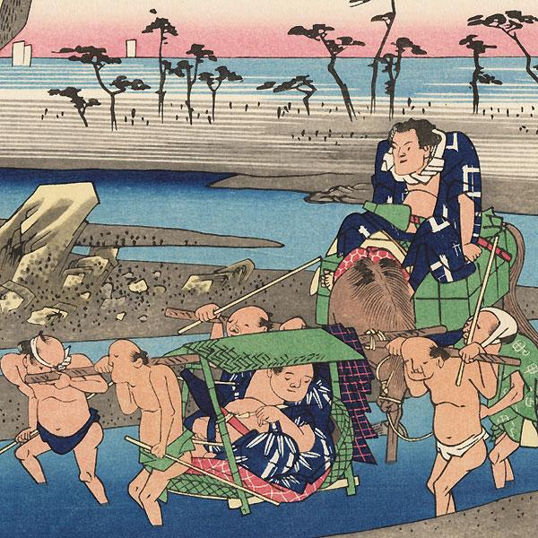 The Okitsu River at Okitsu  by Hiroshige (1797 - 1858)