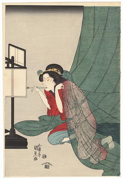 Beauty Lighting a Pipe by Toyokuni III/Kunisada (1786 - 1864)
