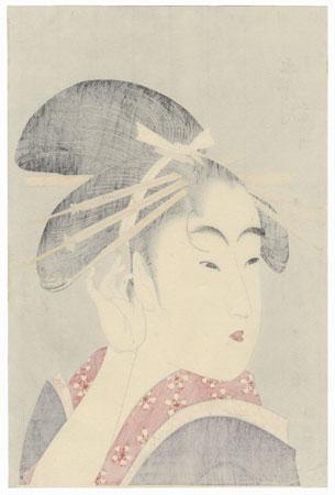 Beauty Tucking a Hair behind Her Ear by Utamaro (1750 - 1806)
