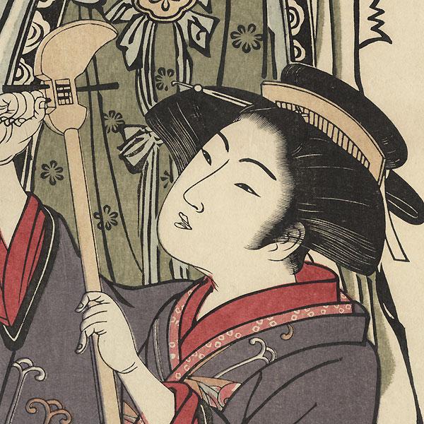 The Goddess Benten Watching a Beauty Tuning a Shamisen Pillar Print by Edo era artist (not read)