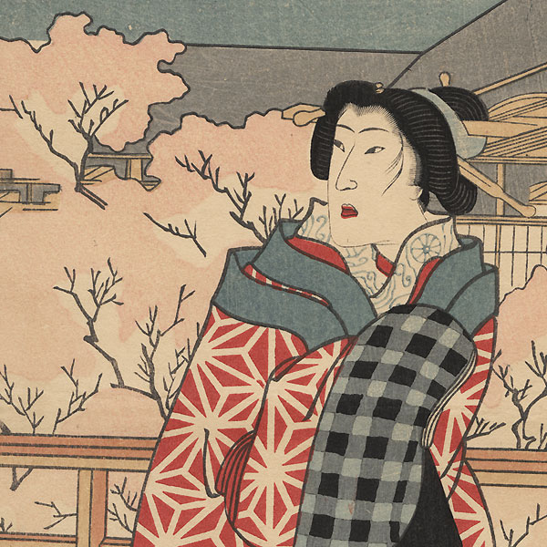 Beauty on a Verandah in Spring by Yoshitoshi (1839 - 1892)