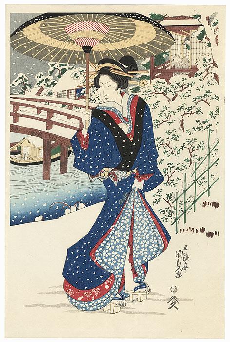 Evening Snow at Mokubo Temple by Toyokuni III/Kunisada (1786 - 1864)