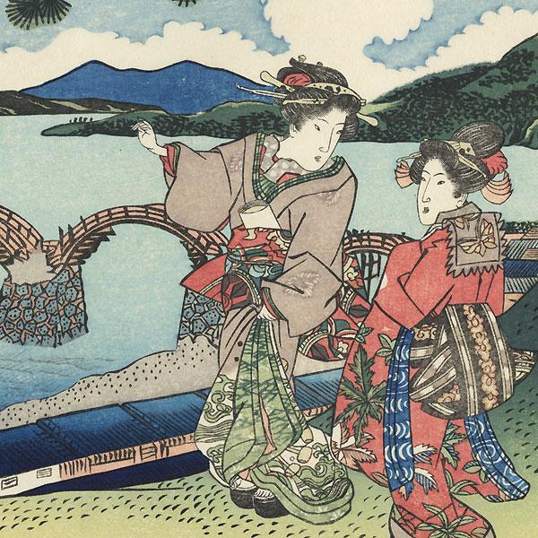 The Bridge of the Brocade Sash (Kintaibashi) by Toyokuni III/Kunisada (1786 - 1864)