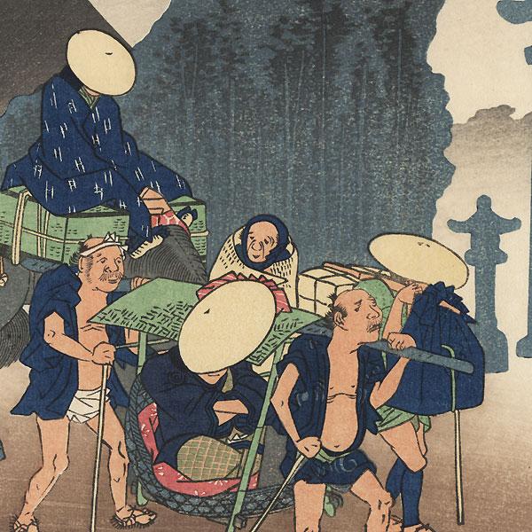 Morning Mist at Mishima by Hiroshige (1797 - 1858)