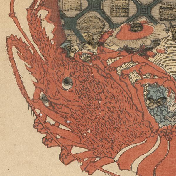 Lobster Treasure Ship Surimono by Toyohiro (1773 - 1828)