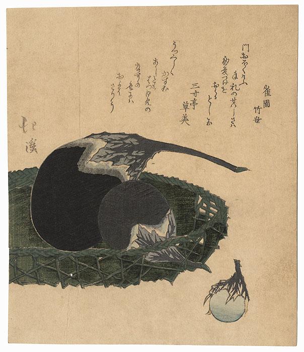 Eggplants in a Basket Surimono by Hokkei (1780 - 1850)