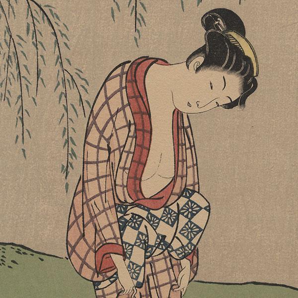 Woman Washing Cloth in a Stream by Harunobu (1724 - 1770)