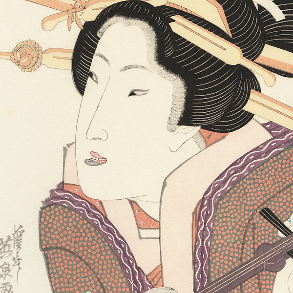 Beauty with a Shamisen by Eisen (1790 - 1848)
