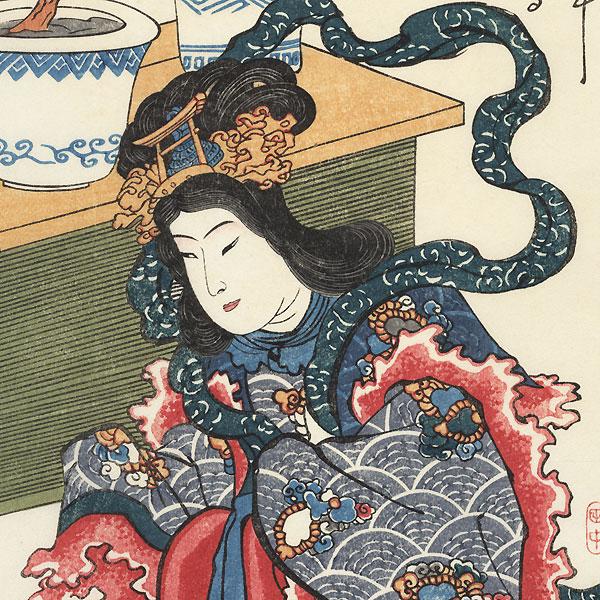 Lucky Goddess Benzaiten by Kuniyoshi (1797 - 1861)