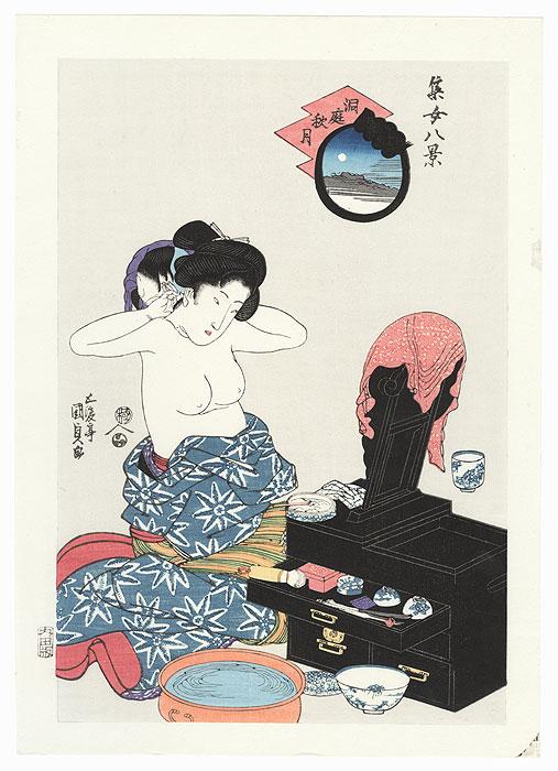 Beauty Applying Makeup to her Neck by Toyokuni III/Kunisada (1786 - 1864)