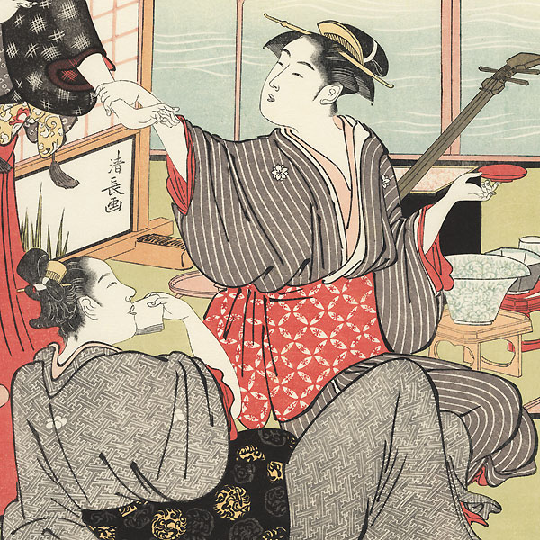 Enjoying the Cool of the Evening by the Shijo Bridge by Kiyonaga (1752 - 1815)