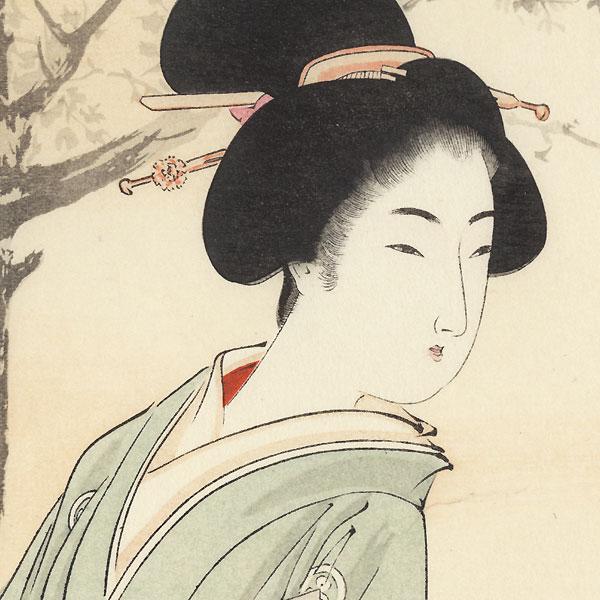 Beauty with Umbrella Kuchi-e Print by Toshikata (1866 - 1908)
